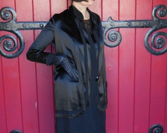 Awesome 1920's Art Deco Black Silk Satin Flapper/Great Gatsby/Downton Abbey Coat