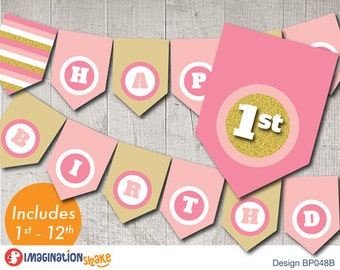 Pink and Gold Birthday Party Banner PRINTABLE / Pink & Gold Birthday Printables / Printable Party Banner / Any Age Banner / Pink Gold Decor