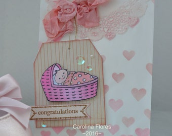 Handmade Baby Goodie Bag, Baby Shower, Party Favors Bag, Gift Card Holder