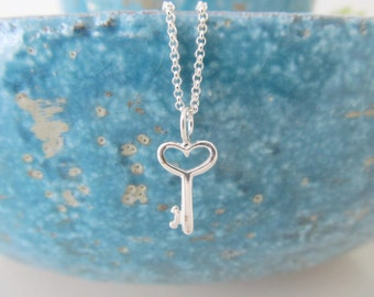Sterling silver key necklace, key necklace, love necklace (last one!)