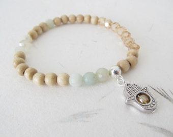 Hamsa bracelet, wooden bracelet, yoga bracelet