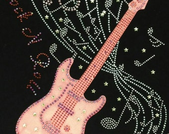 "Music, Guitar, Rock, Roll, Bling, Diva, Rhinestone ""Rock N Roll"" T-Shirt"