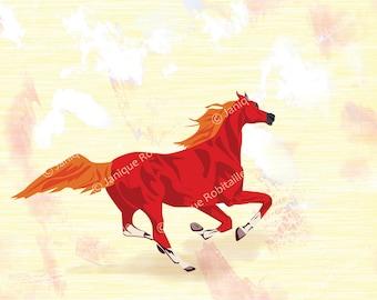 horse running illustration print home decor 8x10 print wall art artistic red orange