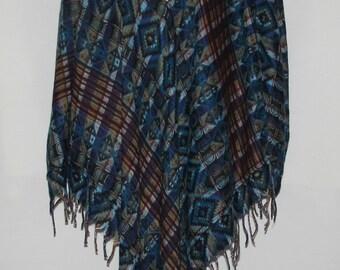 Poncho Hoodie Tassels Fringe Boho Bohemian 60s Designer Hippie HandmadeHimalayan Handloomed Yak Wool Blend Shawl Multicolored 1 Size 8434