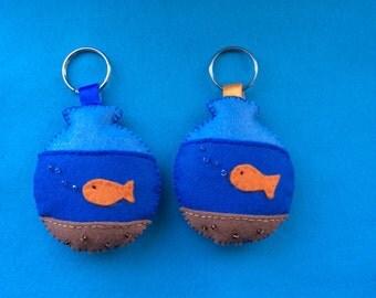 Goldfish bowl key ring