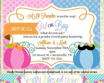 Fall Pumpkin Gender Reveal Party Invitation - DIY By: SimplyBlessedDesign