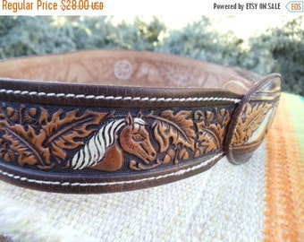 ON SALE Vintage Hand Tooled Saddle Stitched Cowhide Leather Belt with Horse Head Belt Buckle