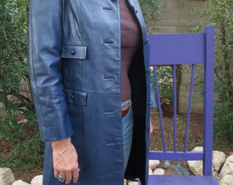 Vintage 1960's - 1970's Blue Leather Trench Style Coat from Begedor of Israel