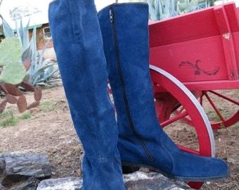 Vintage Retro Mod Hippie Boho Folk Janis Joplin  Blue Suede Go Go Boots Size 8