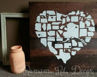 States Heart Shape Sign