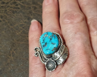 Sterling silver native American turquoise wide band ring