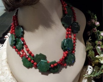 three strand coral and green turquoise necklace