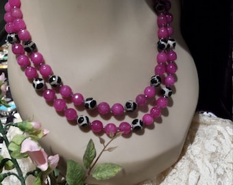 Two strand fuchsi jade and painted faceted jasper