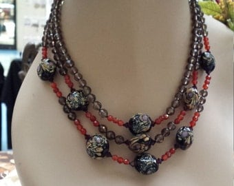three strand smokey quartz, carnelian and art glass necklace
