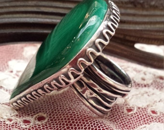Sterling silver large malachi stone ring