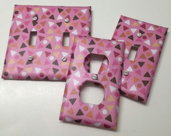 Pink, White Chocolate brown, dots, triangles, light plate cover,light switch plate, outlet cover, outlet plate, home decor, wall art
