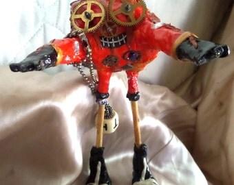 Pumpkin Spike Halloween Steampunk Figure Skeleton Standing Polymer Clay Orange & Black
