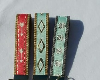 Aztec Key Fob - Tribal Key Chain - Coral Key Wristlet - Mint or Aqua Owl Key Holder - Girls Gift idea - Hostess gift idea .