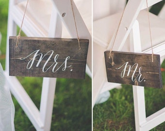 Rustic Wood Wedding Mr. & Mrs. Signs Hand Painted