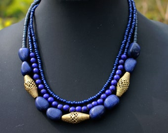 Blue African Necklace with Three Brass Beads.