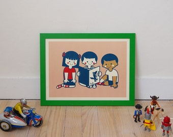 """Retro poster """"We love to read"""" - Format 30 x 40 - A3 - retro Illustration and vintage by workshop VUDO"""