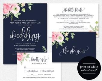Floral Wedding Invitation, Navy Blue Floral Wedding Invitation Printable, Rustic Wedding Invite, Suite, PDF Instant Download #BPB306_1