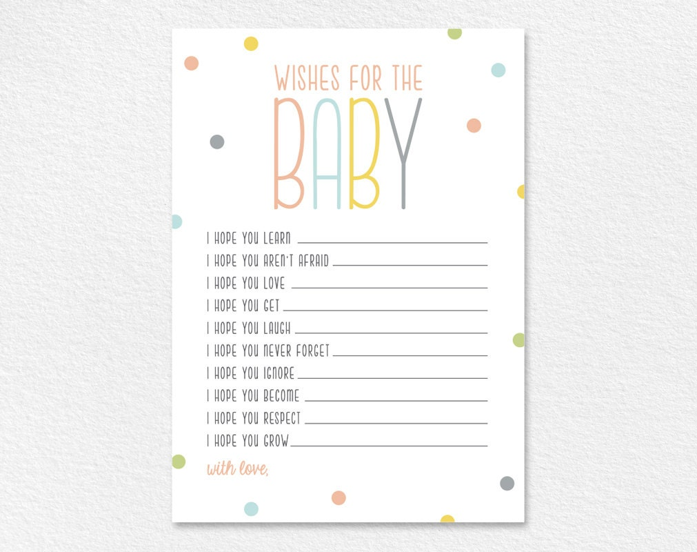 Dynamic image inside wishes for baby printable
