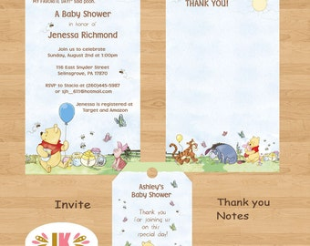 Winnie the Pooh  Roomates Pooh and Friends  Printed Invitations