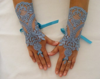 Marine Blue Lace Handmade Medium Lenght Fingerless Wedding Gloves With Satin Ribbons