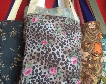 Reversible Tote Bag. Made from repurposed vintage curtains.