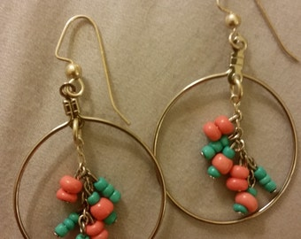 Silver Aqua and Coral Dangle Hoop Cluster Earrings