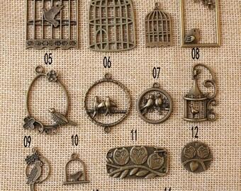 Antique bronze bird / birdcage charm pendant, jewelry findings