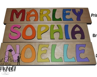 Hand Crafted Personalized Wooden Name Puzzles Child's Name, Custom Made Puzzle From Wood Word SWICP_27