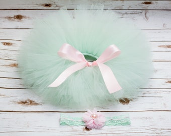 Mint and pink tutu , toddler tutu , mint newborn tutu , mint and pink tutu set