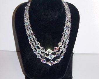 Vintage Iridized Bead Triple Strand Necklace