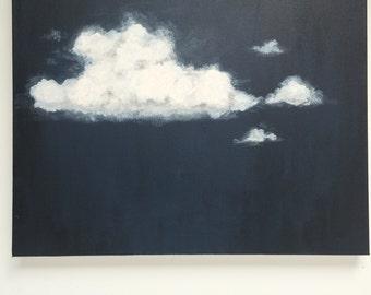Original Painting, Acrylic Painting, Cloud Art, Cloud Painting, Landscape Painting, Painting on Canvas, Wall Art, Navy, Black, Grey