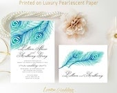 Feather wedding set printed | Blue peacock wedding invitation with RSVP postcard | Elegant wedding invitations cheap