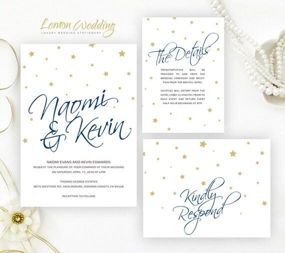 Starry wedding invitation kits printed Cheap wedding invitation sets ...