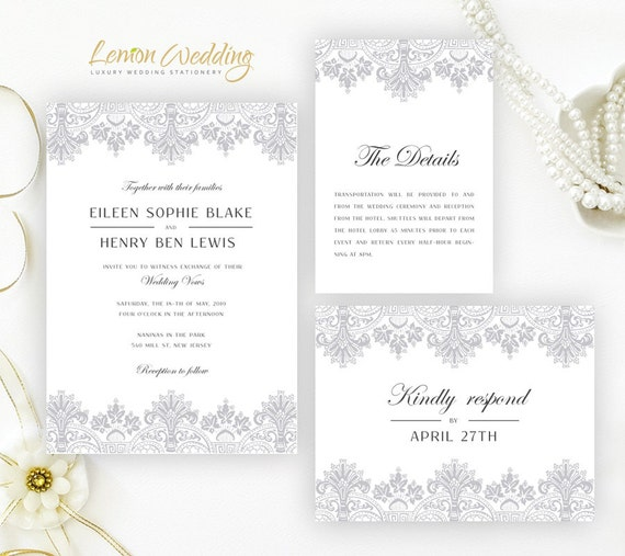 lace wedding invitation kits printed elegant wedding invitation
