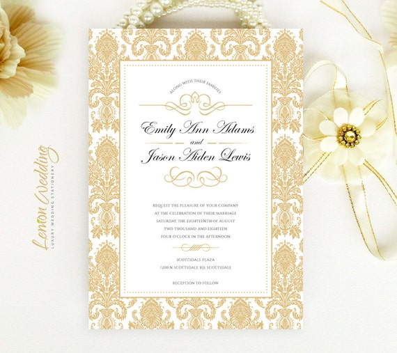 Cheap Cardstock For Wedding Invitations : Gold damask wedding invitations Wedding invitations printed