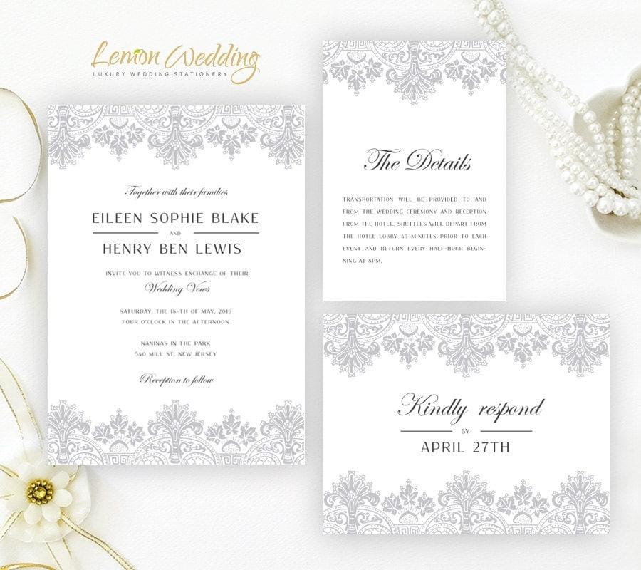 Elegant wedding invitations by LemonWedding on Etsy – Wedding Invitation Card Stock Kits
