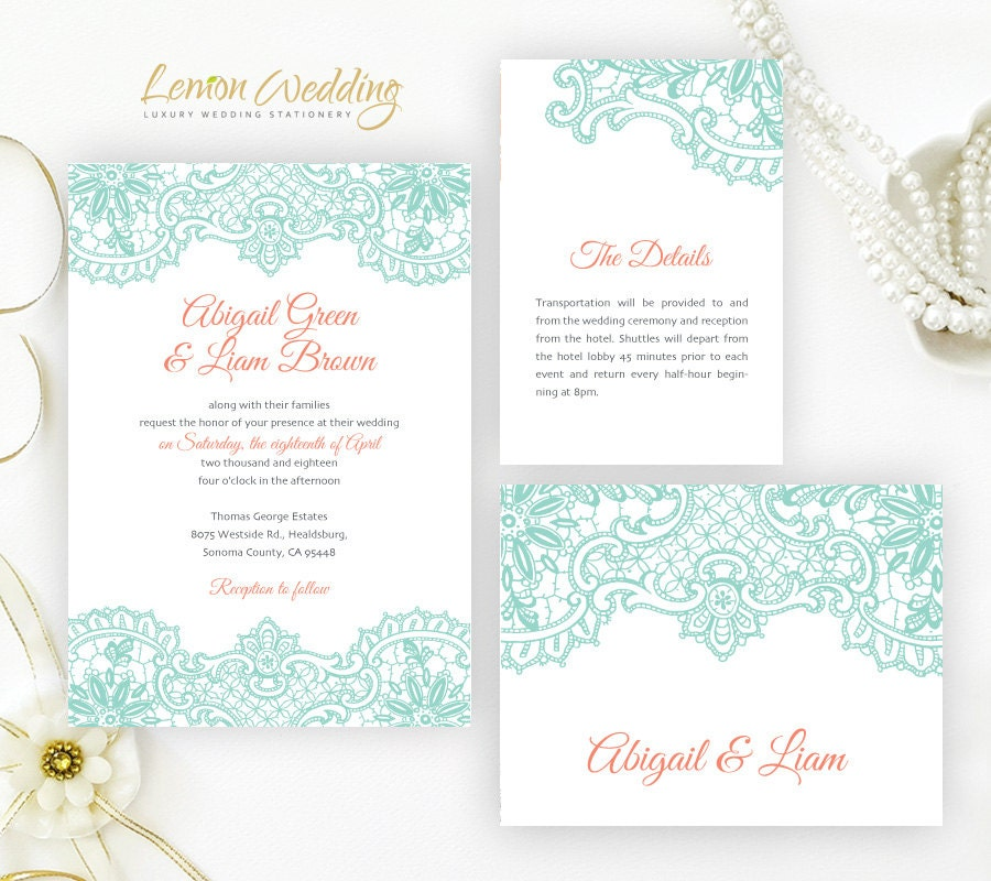 Printed Wedding Invitation Packages Mint Wedding Invitations