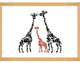 giraffe cross stitch pattern, silhouette cross stitch, ornamental, giraffe pattern, abstract, romantic pattern, baby giraffe, africa, safari