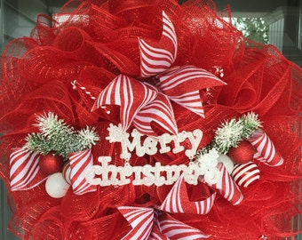 Christmas Candy Cane Mesh Wreath