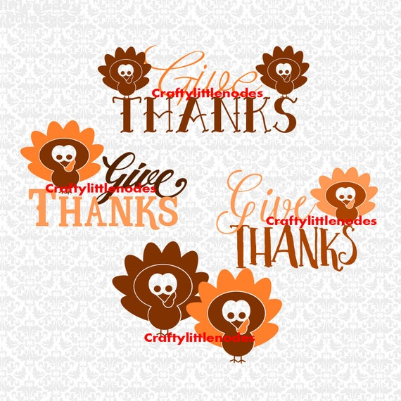 Give Thanks Turkey Thanksgiving SVG STUDIO Ai EPS Scalable Vector Instant Download Commercial Use Cutting File Cricut Silhouette