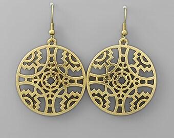 Tribal Filigree Gold Earrings