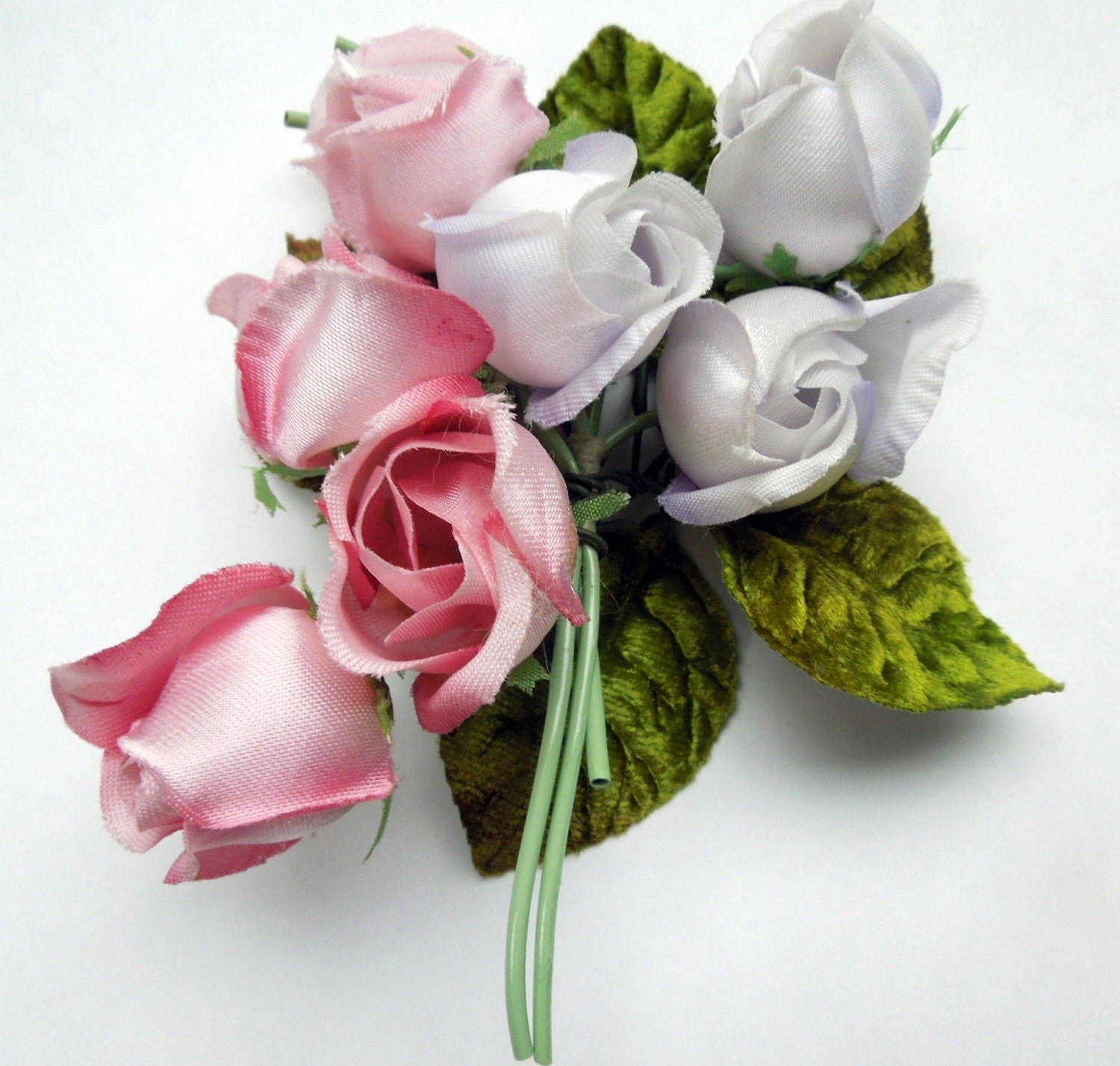 Expensive Birthday Flowers: Vintage Millinery Silk Flower Bouquet Pink White Roses Craft