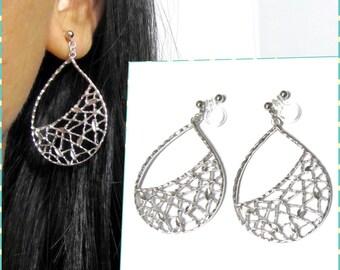 Matte Silver Plate 'clip on earring' R4MR teardrop filigree dangle earring big statement earring wedding clip on earring non pierced earring