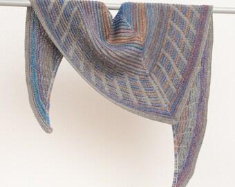 Hand knit grey shawl, wool striped scarf, colorful wrap shawl, multicolor warm shawl