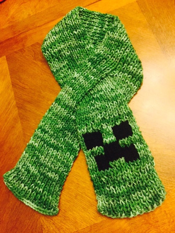 Minecraft Creeper Hand Knitted with double strands Scarf